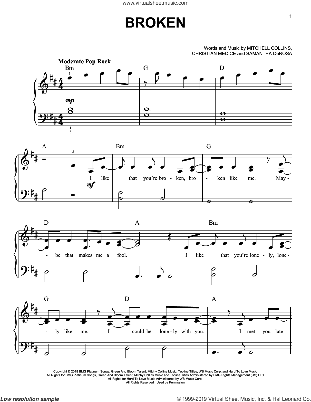 Broken sheet music for piano solo by lovelytheband, Christian Medice, Mitchell Collins and Samantha DeRosa, easy skill level