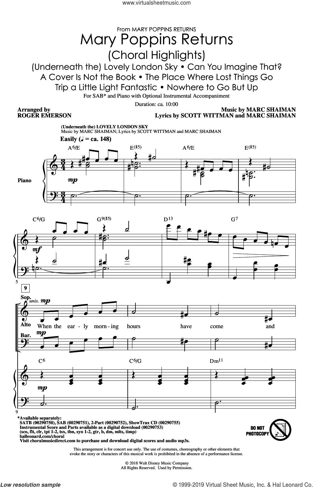 Mary Poppins Returns (Choral Highlights) (arr. Roger Emerson) sheet music for choir (SAB: soprano, alto, bass) by Marc Shaiman, Roger Emerson, Marc Shaiman & Scott Wittman and Scott Wittman, intermediate skill level