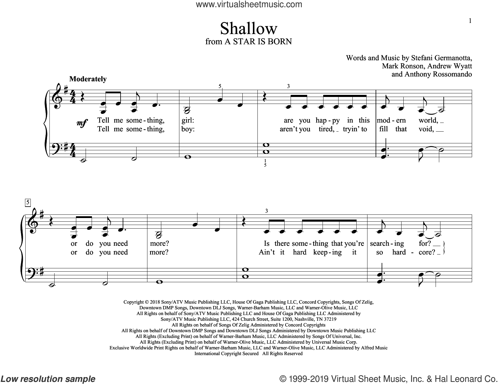 Shallow (from A Star Is Born) sheet music for piano solo (elementary) by Lady Gaga & Bradley Cooper, Andrew Wyatt, Anthony Rossomando, Lady Gaga and Mark Ronson, beginner piano (elementary)