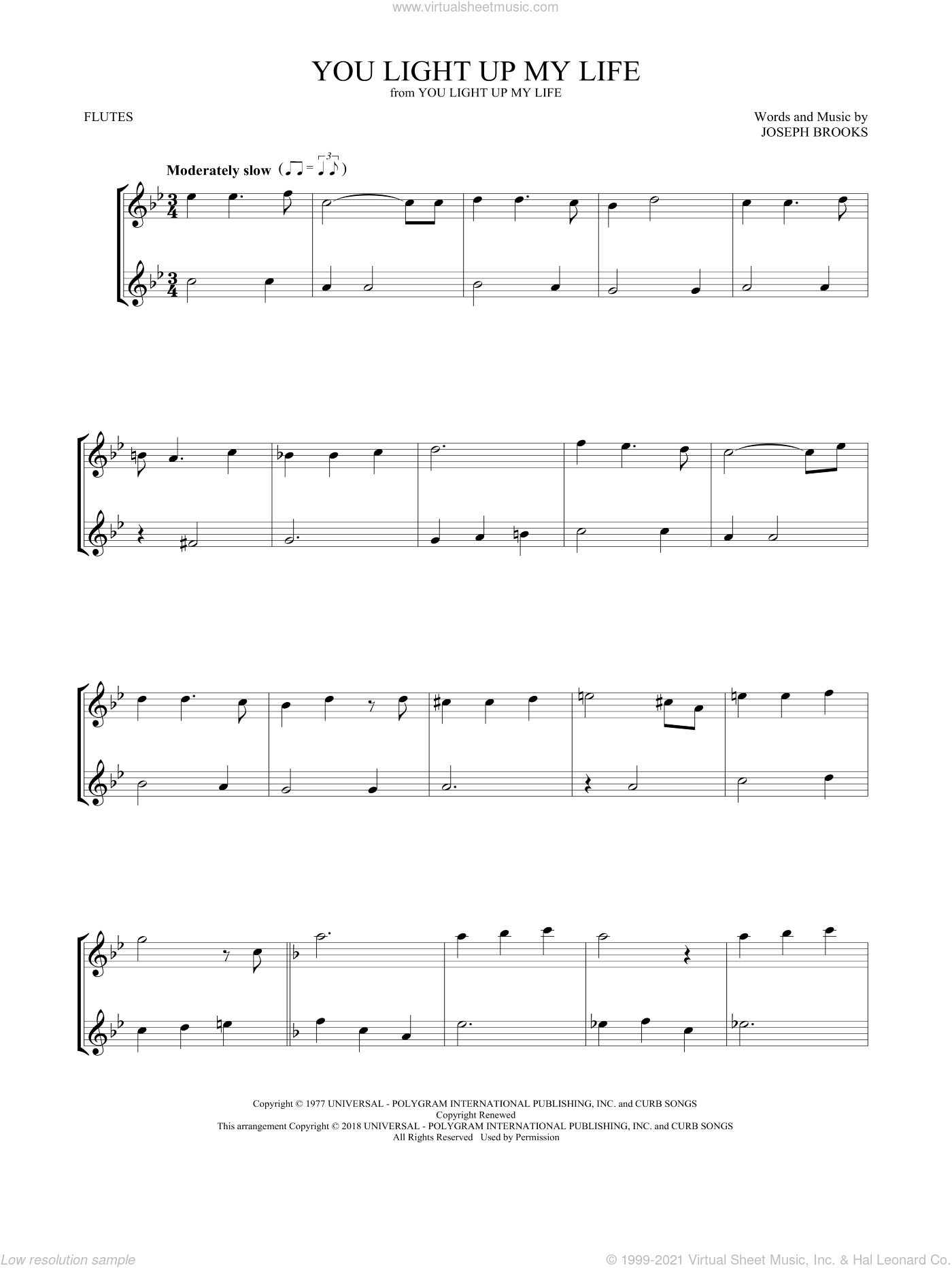 You Light Up My Life sheet music for two flutes (duets) by Debby Boone and Joseph Brooks, intermediate skill level