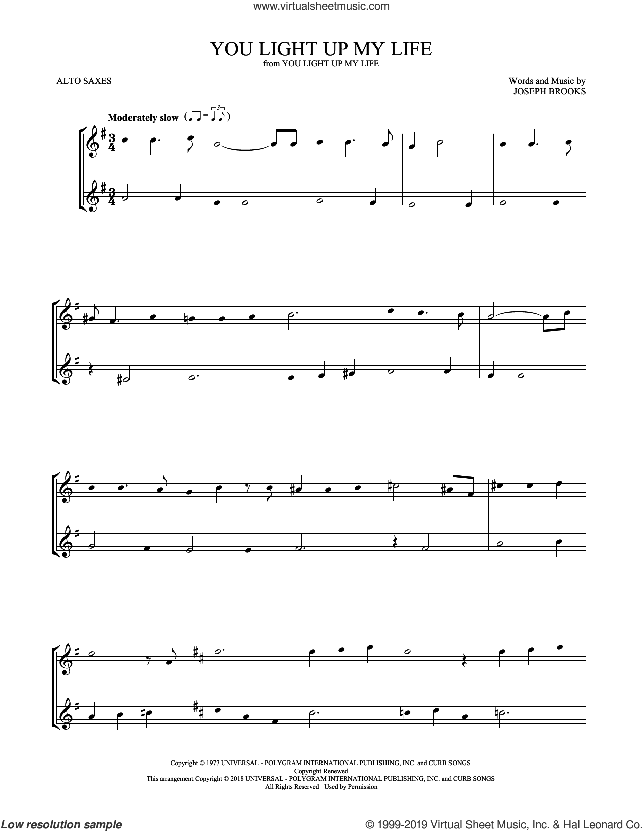 You Light Up My Life sheet music for two alto saxophones (duets) by Debby Boone and Joseph Brooks, intermediate skill level