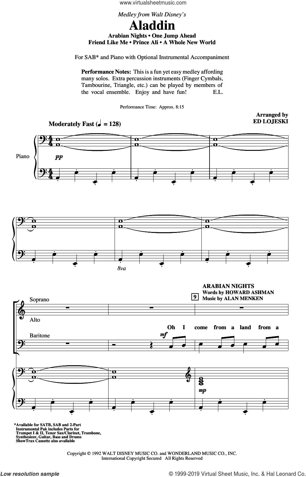 Aladdin (Medley) (from Disney's Aladdin) (arr. Ed Lojeski) sheet music for choir (SAB: soprano, alto, bass) by Alan Menken, Ed Lojeski, Howard Ashman and Tim Rice, intermediate skill level