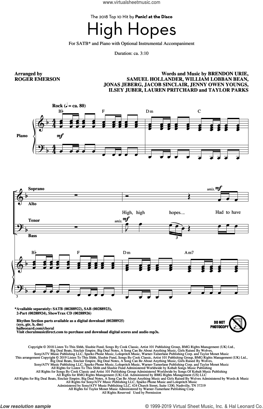 High Hopes (arr. Roger Emerson) sheet music for choir (SATB: soprano, alto, tenor, bass) by Panic! At The Disco, Roger Emerson, Brendon Urie, Ilsey Juber, Jacob Sinclair, Jenny Owen Youngs, Jonas Jeberg, Lauren Pritchard, Sam Hollander, Taylor Parks and William Lobban Bean, intermediate skill level