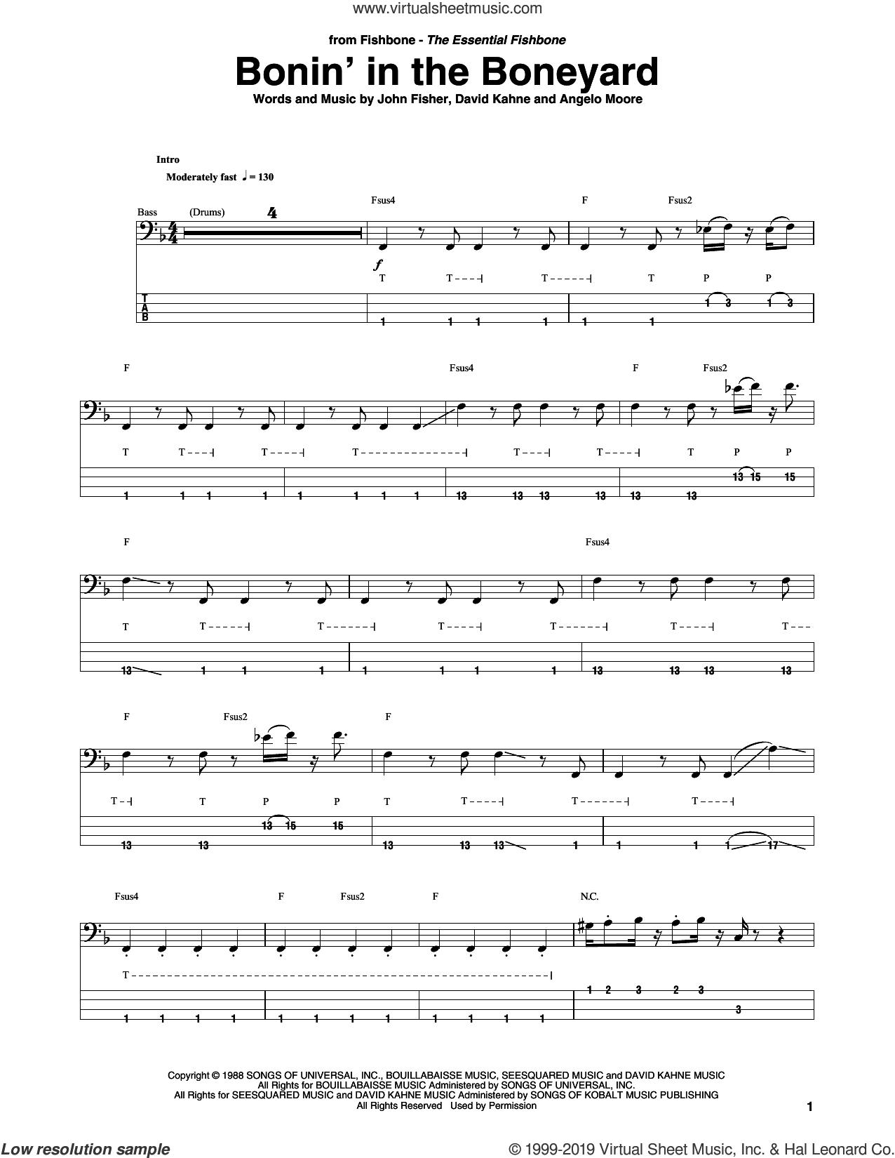 Bonin' In The Boneyard sheet music for bass (tablature) (bass guitar) by Fishbone, Angelo Moore, David Kahne and John Fisher, intermediate skill level