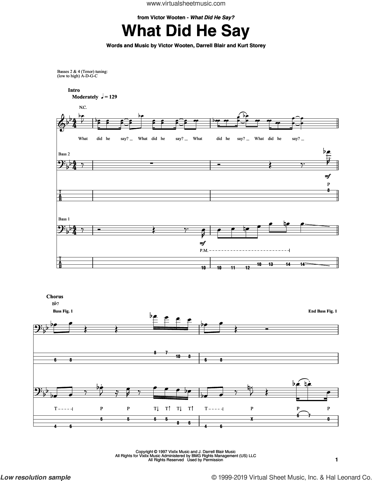 What Did He Say sheet music for bass (tablature) (bass guitar) by Victor Wooten, Darrell Blair and Kurt Storey, intermediate skill level