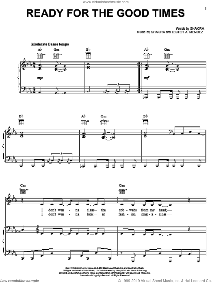 Ready For The Good Times sheet music for voice, piano or guitar by Shakira. Score Image Preview.