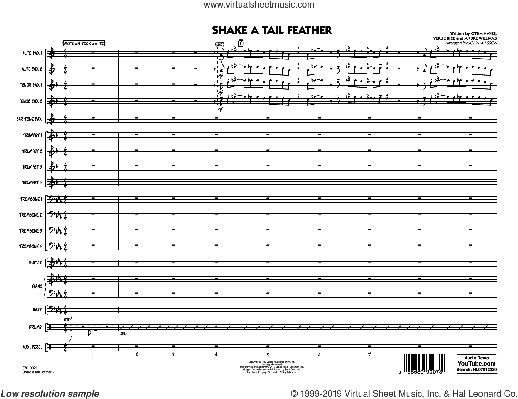 Shake a Tail Feather (arr. John Wasson) (COMPLETE) sheet music for jazz band by Ray Charles, Andre Williams, John Wasson, Otha M. Hayes and Verlie Rice, intermediate skill level