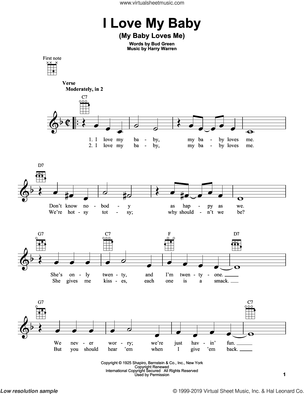 I Love My Baby (My Baby Loves Me) sheet music for ukulele by Harry Warren and Bud Green, intermediate skill level