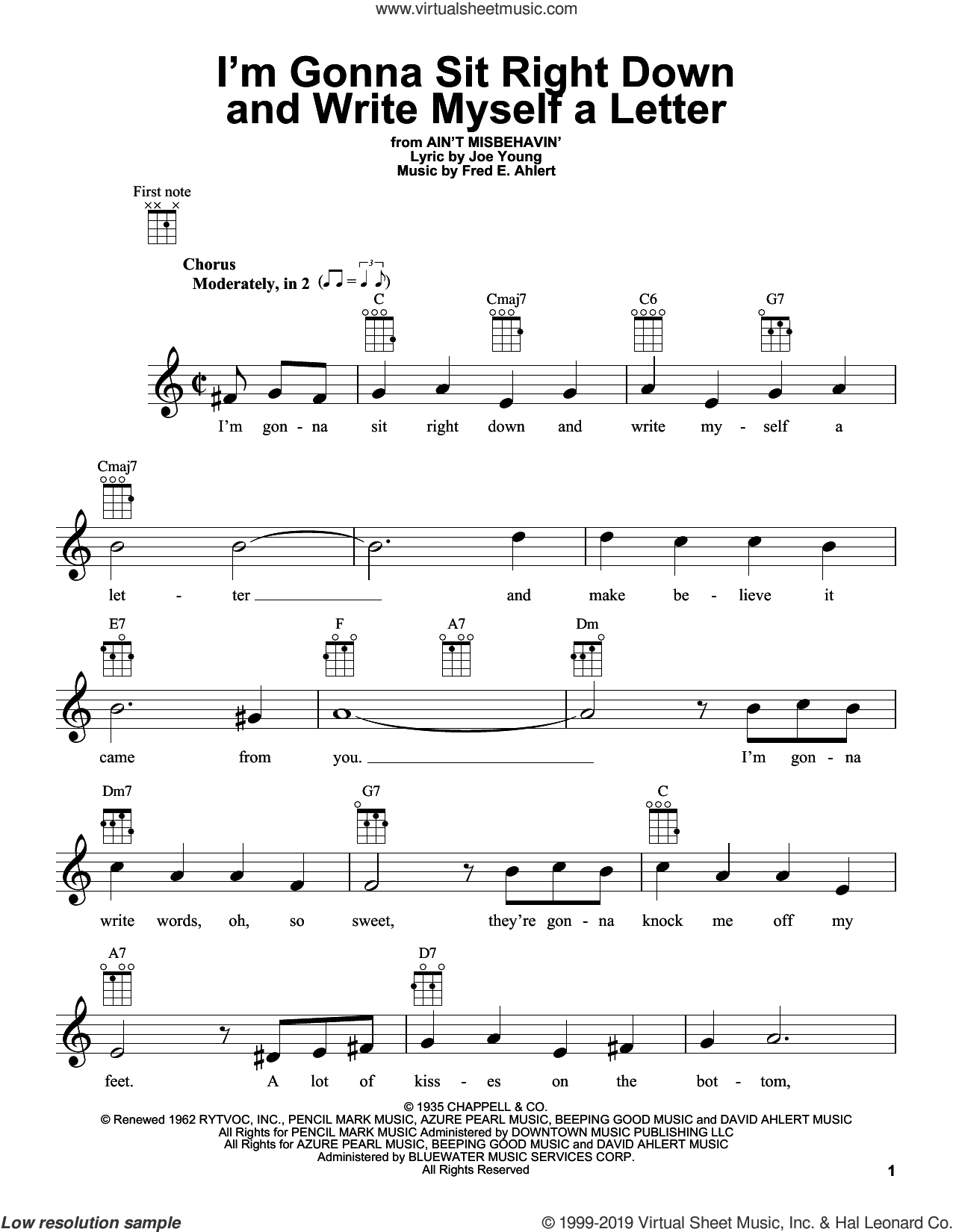 I'm Gonna Sit Right Down And Write Myself A Letter sheet music for ukulele by Joe Young, Billy Williams, Willie Nelson and Fred Ahlert, intermediate skill level