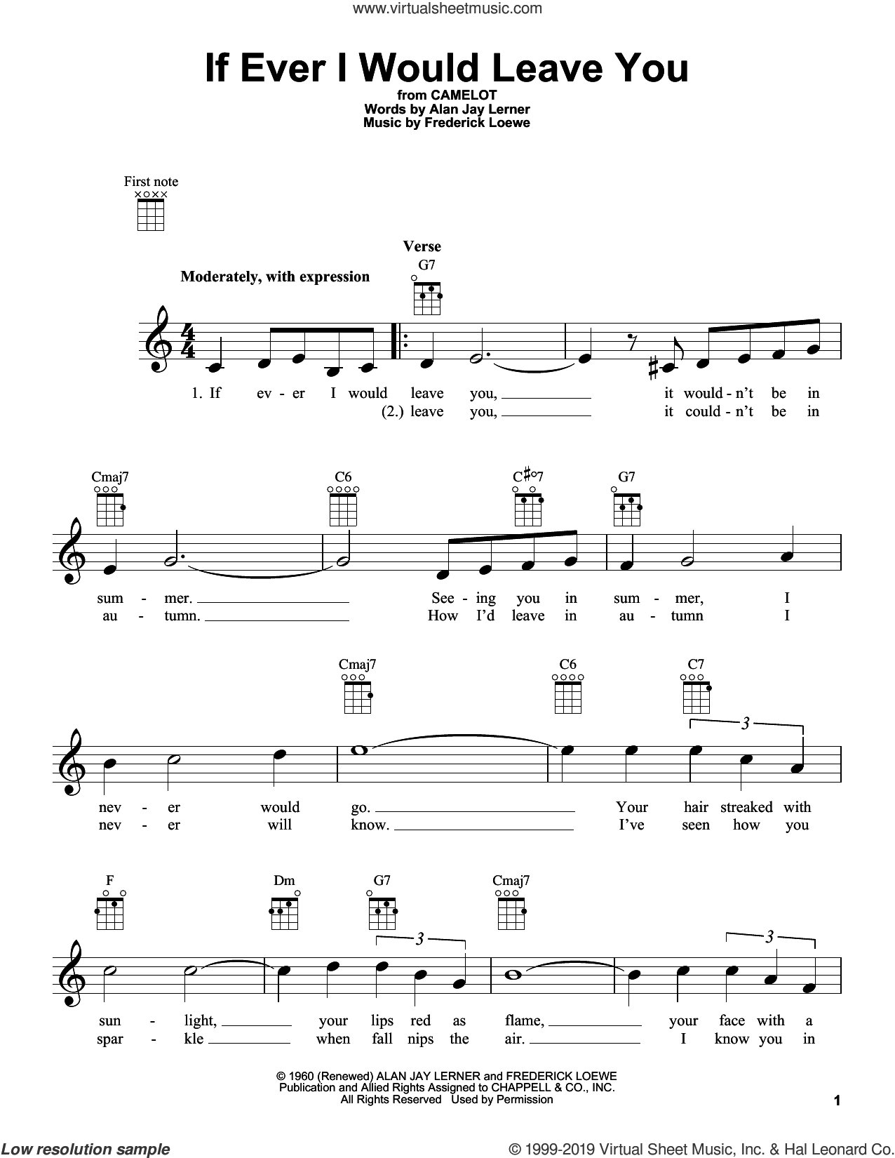 If Ever I Would Leave You sheet music for ukulele by Frederick Loewe and Alan Jay Lerner, intermediate skill level