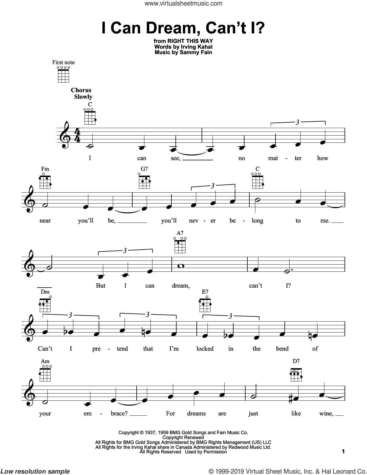 I Can Dream, Can't I? sheet music for ukulele by Irving Kahal and Sammy Fain, intermediate skill level