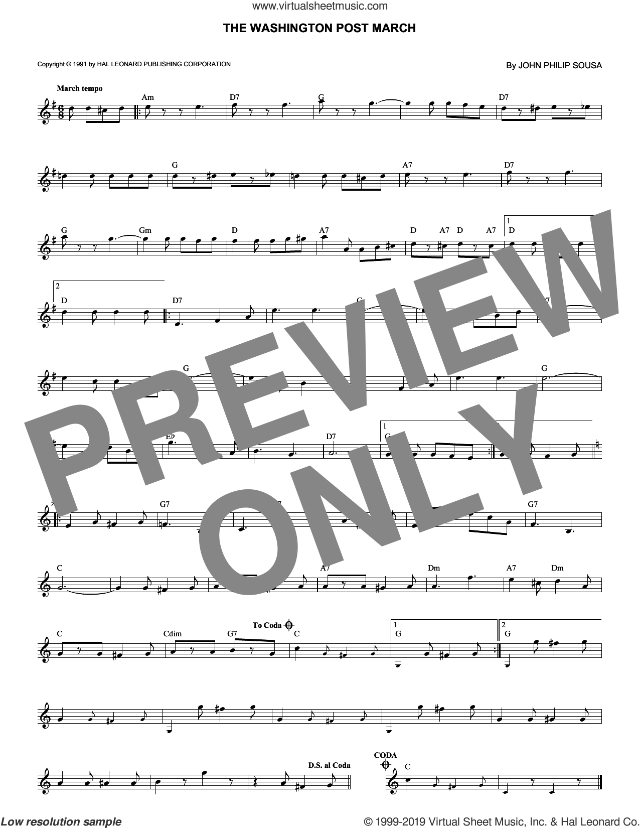 Washington Post March sheet music for voice and other instruments (fake book) by John Philip Sousa, intermediate skill level