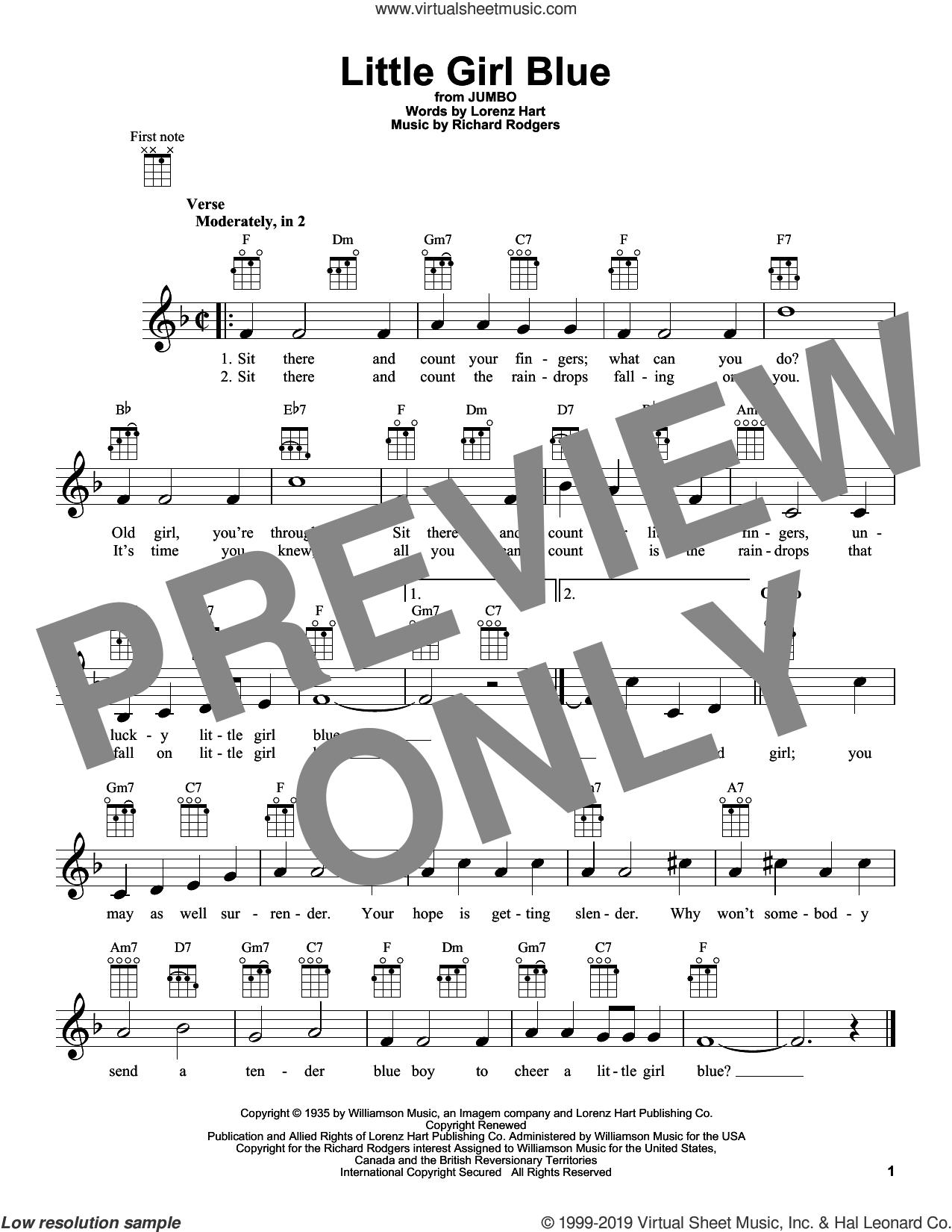 Little Girl Blue sheet music for ukulele by Rodgers & Hart, Lorenz Hart and Richard Rodgers, intermediate skill level