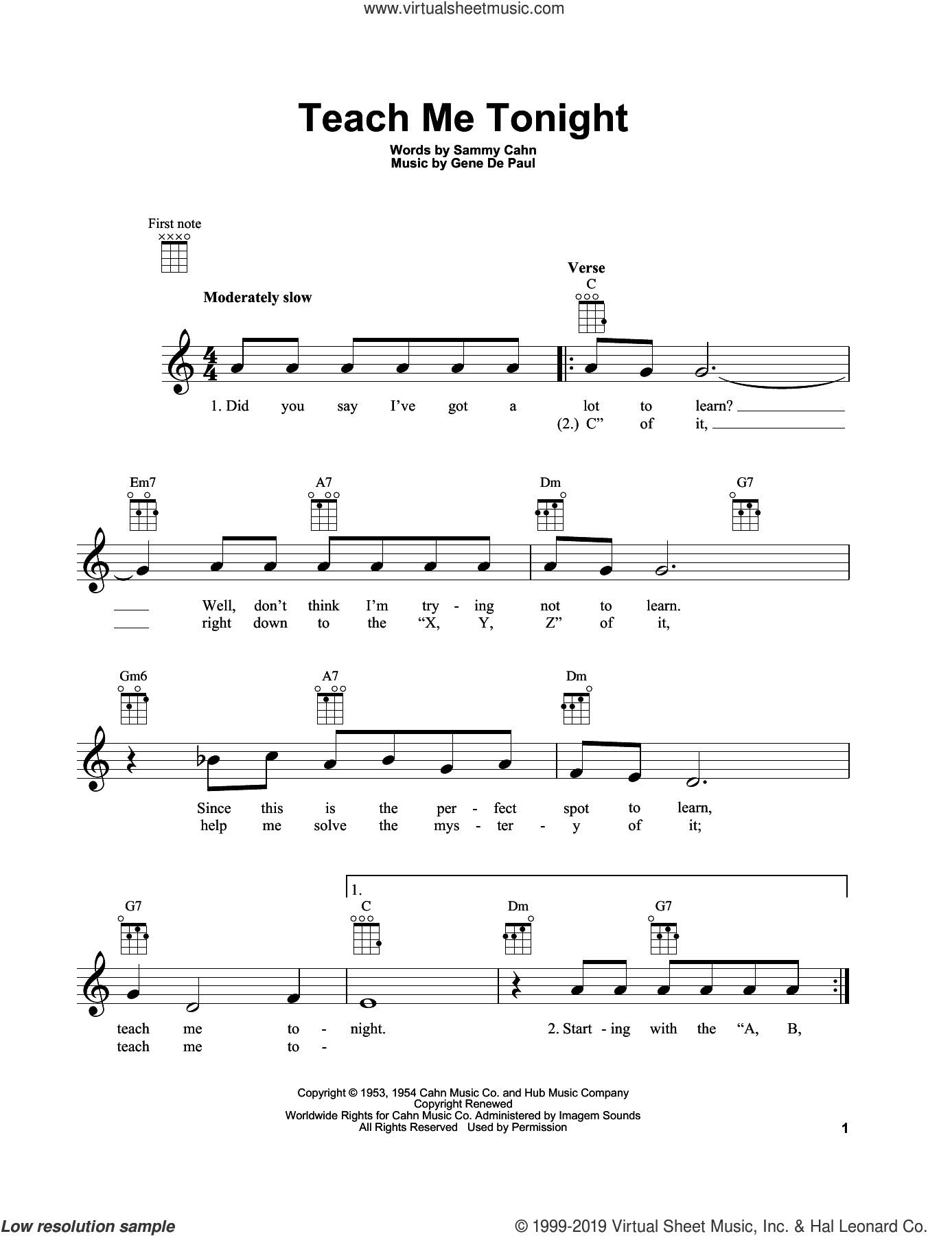 Teach Me Tonight sheet music for ukulele by Sammy Cahn and Gene DePaul, intermediate skill level