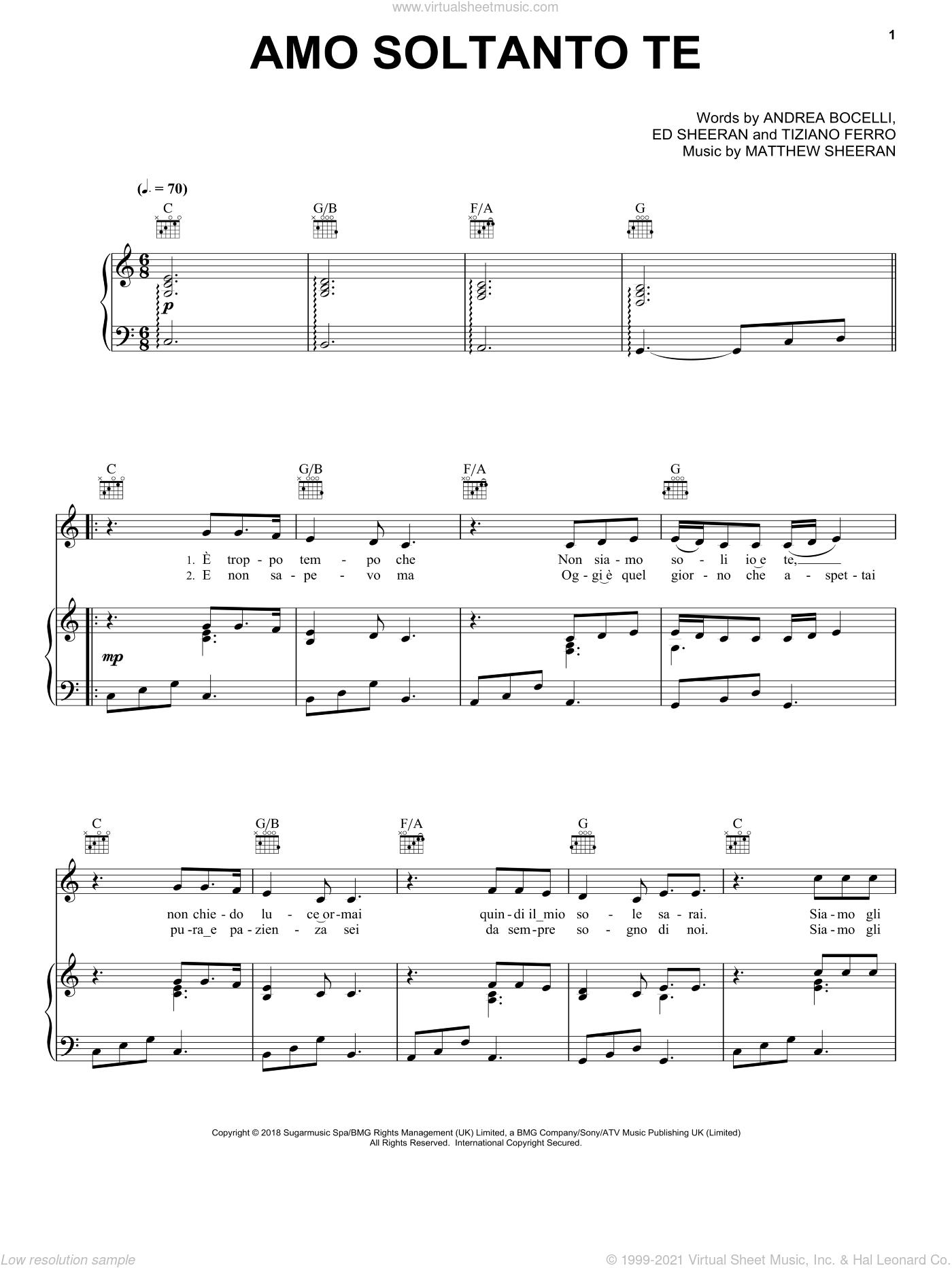 Amo soltanto te (feat. Ed Sheeran) sheet music for voice, piano or guitar by Andrea Bocelli, Ed Sheeran, Matthew Sheeran and Tiziano Ferro, intermediate skill level
