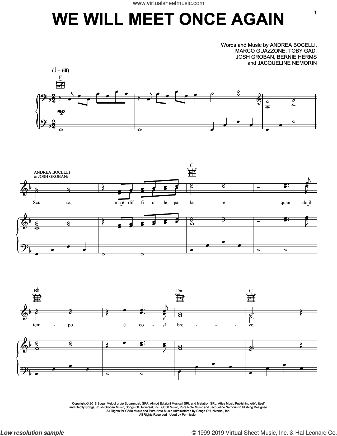 We Will Meet Once Again (feat. Josh Groban) sheet music for voice, piano or guitar by Andrea Bocelli, Bernie Herms, Jacqueline Nemorin, Josh Groban, Marco Guazzone and Toby Gad, intermediate skill level