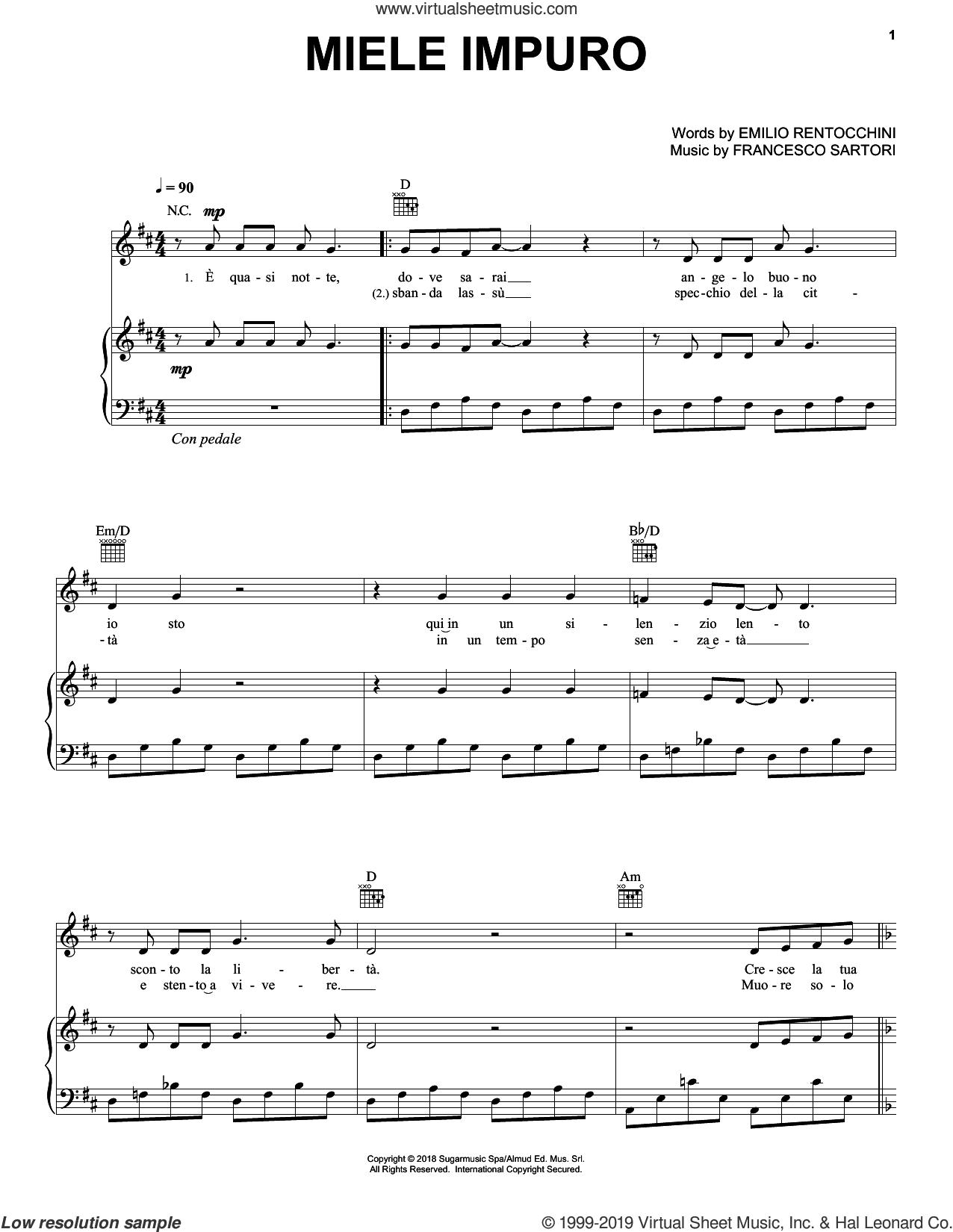 Miele Impuro sheet music for voice, piano or guitar by Andrea Bocelli, Emilio Rentocchini and Francesco Sartori, intermediate skill level