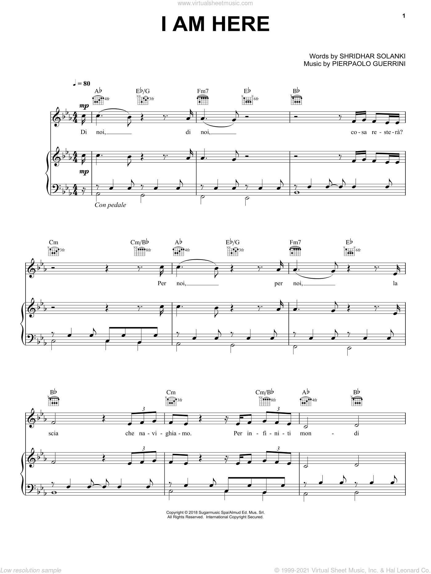 I Am Here sheet music for voice, piano or guitar by Andrea Bocelli, Pierpaolo Guerrini and Shridhar Solanki, intermediate skill level