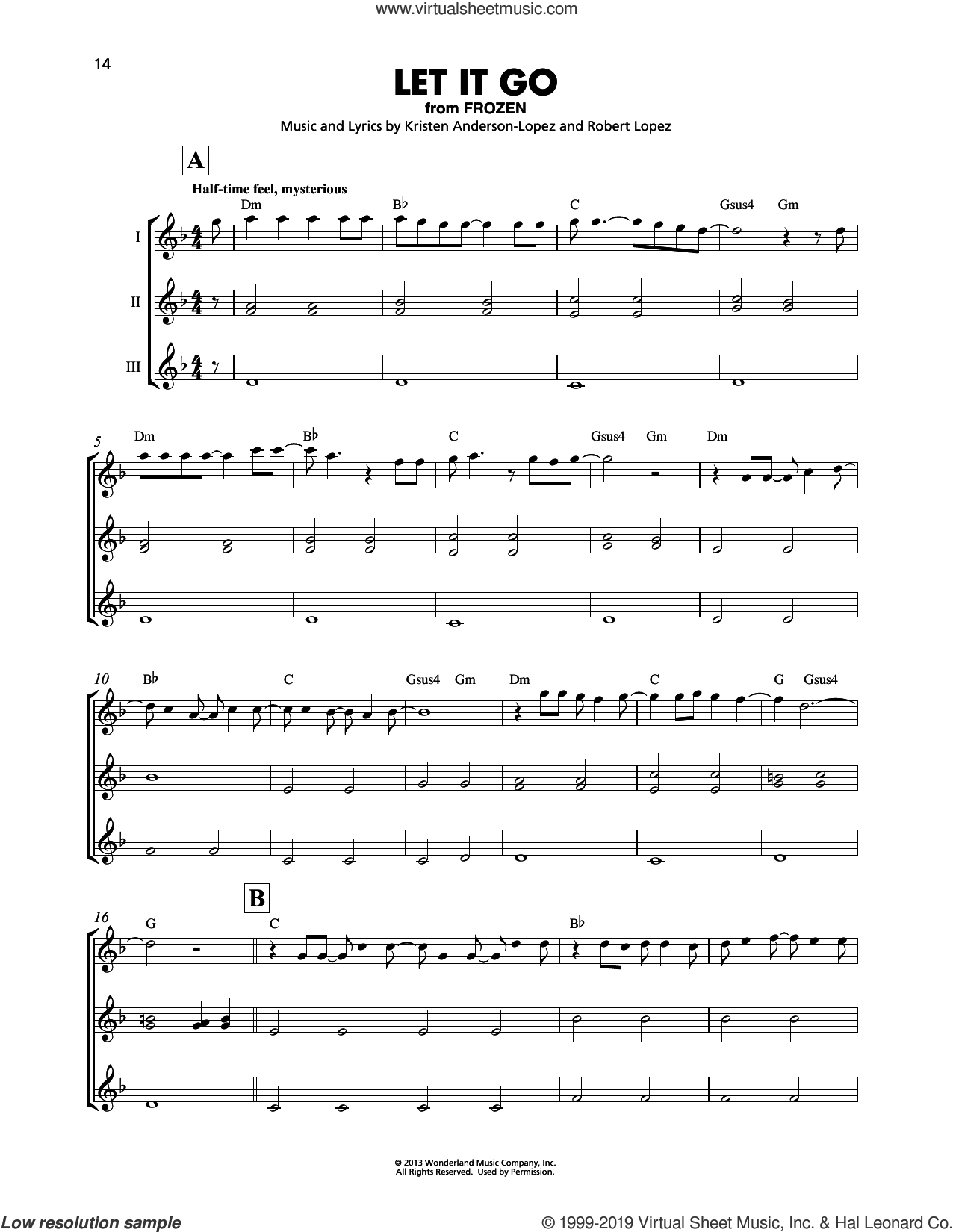 Let It Go (from Frozen) sheet music for ukulele ensemble by Idina Menzel, Kristen Anderson-Lopez and Robert Lopez, intermediate skill level