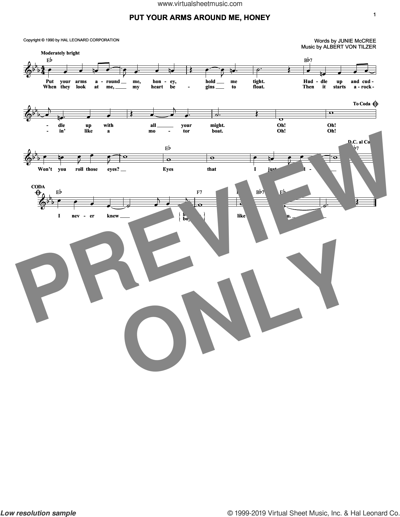 Put Your Arms Around Me, Honey sheet music for voice and other instruments (fake book) by Blossom Seely, Albert von Tilzer and Junie McCree, wedding score, intermediate skill level