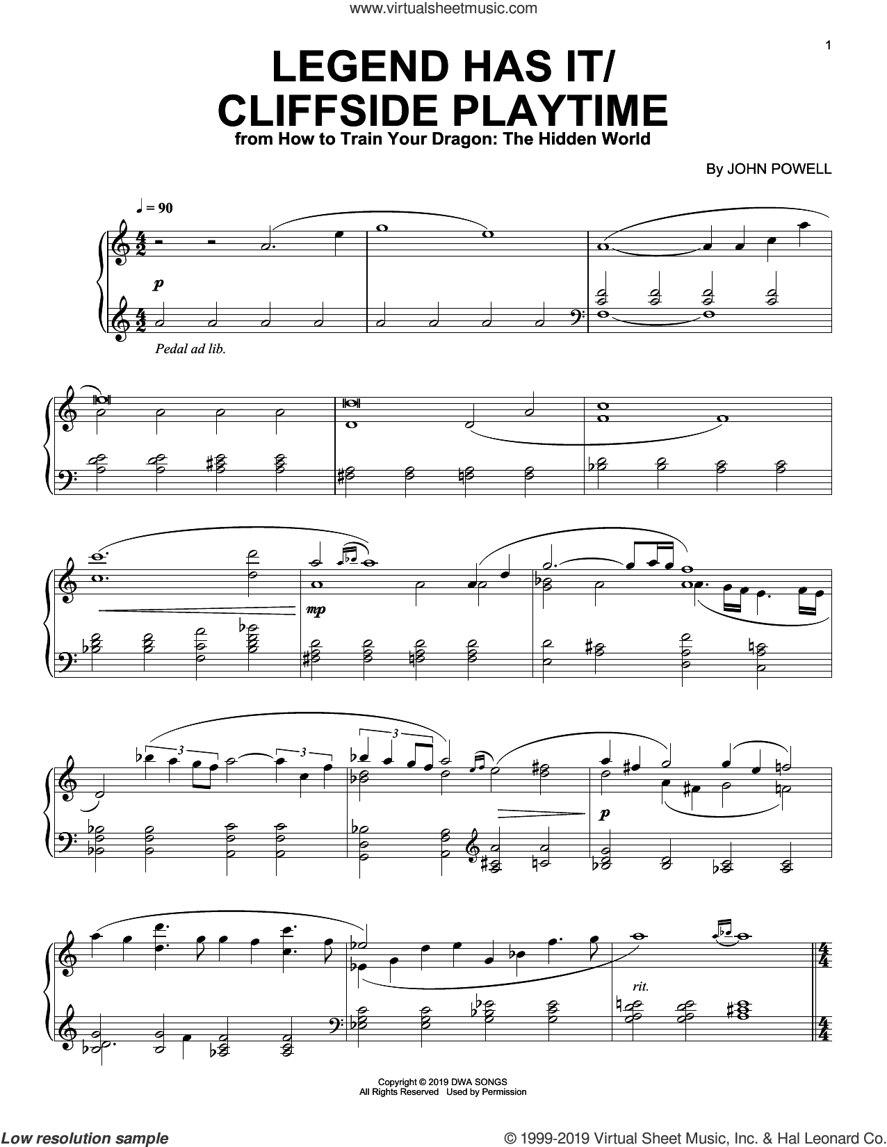 Legend Has It/Cliffside Playtime (from How to Train Your Dragon: The Hidden World) sheet music for piano solo by John Powell, intermediate skill level