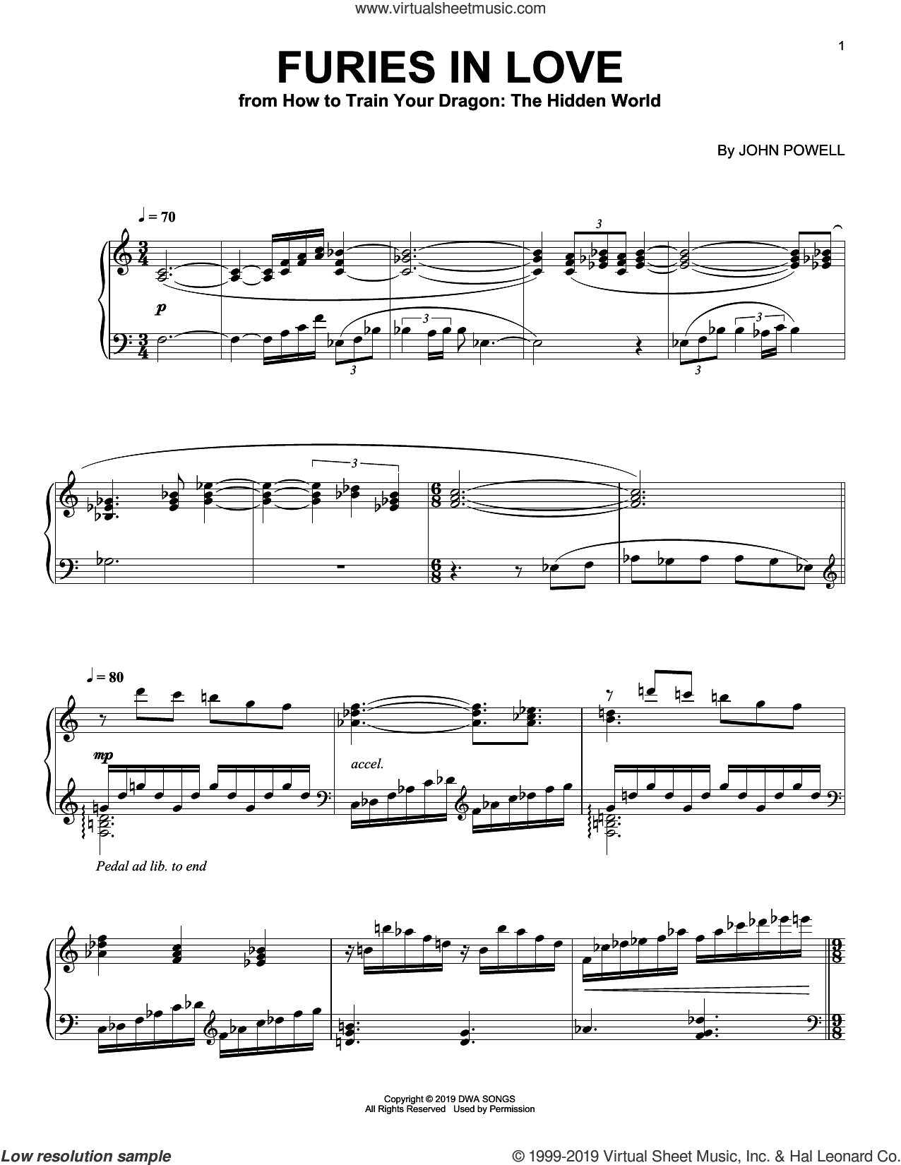 Furies In Love (from How to Train Your Dragon: The Hidden World) sheet music for piano solo by John Powell, intermediate skill level