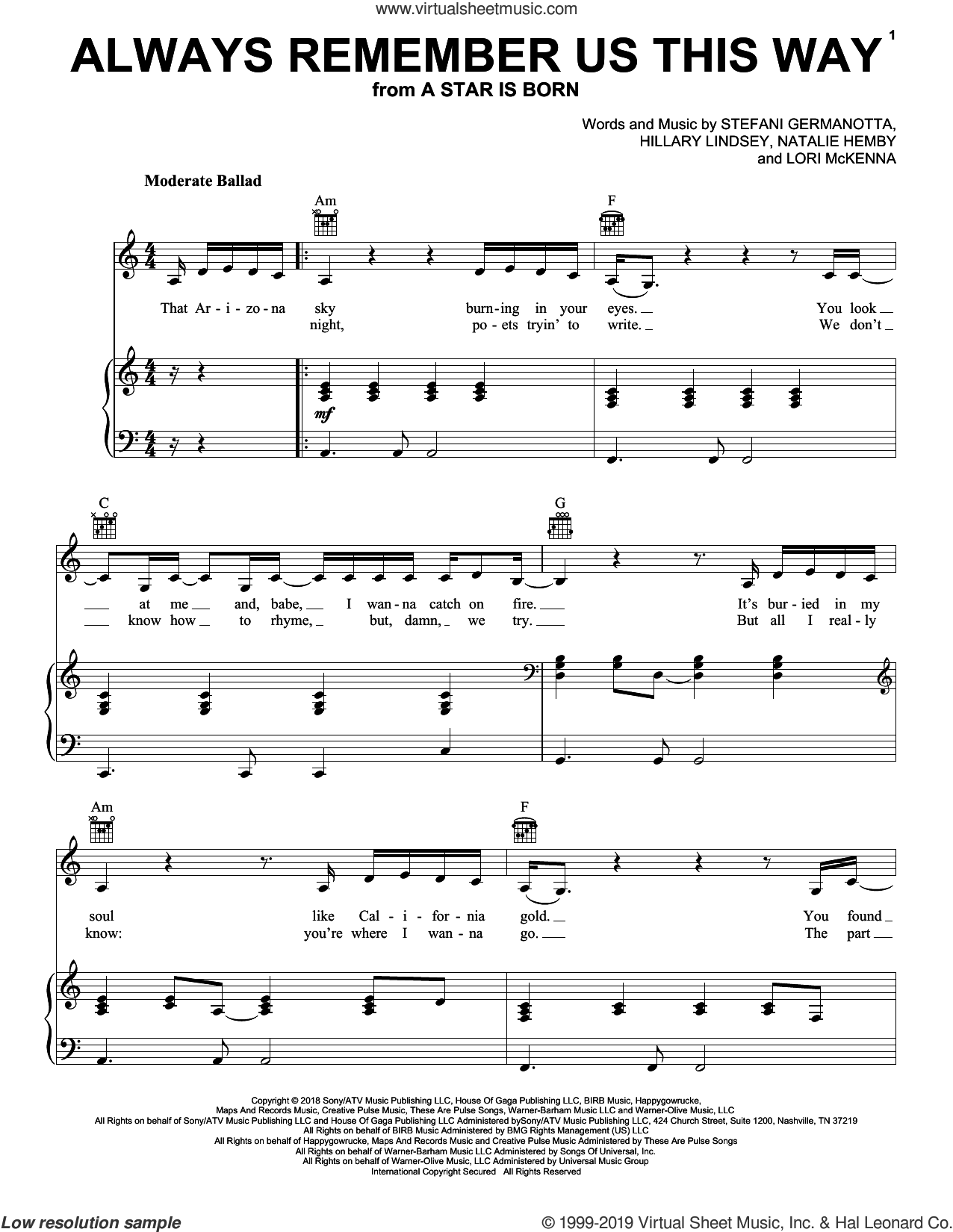 Always Remember Us This Way (from A Star Is Born) sheet music for voice and piano by Lady Gaga, Hillary Lindsey, Lori McKenna and Natalie Hemby, intermediate skill level