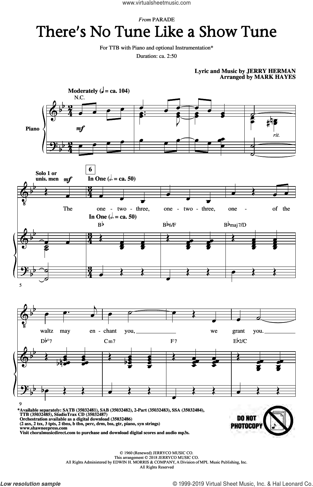 There's No Tune Like A Show Tune (arr. Mark Hayes) sheet music for choir (TTBB: tenor, bass) by Jerry Herman and Mark Hayes, intermediate skill level
