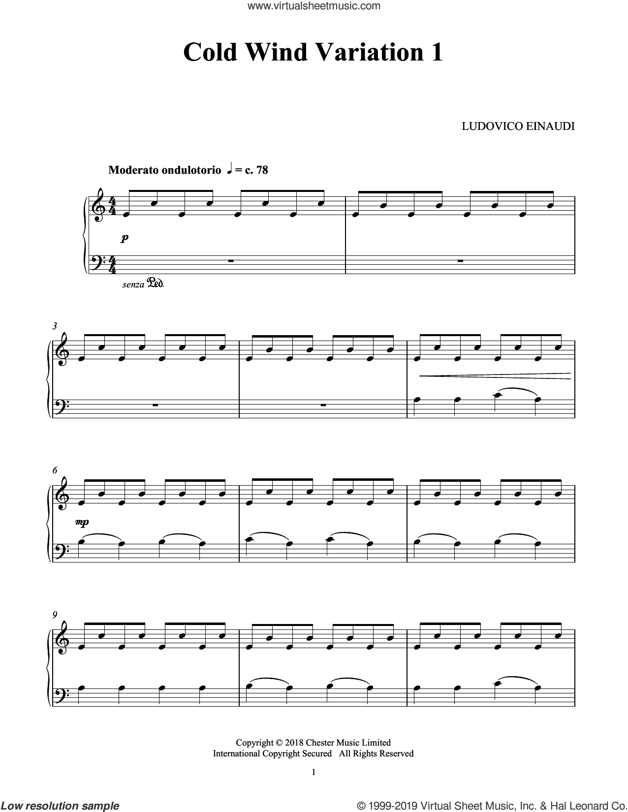 Cold Wind Var. 1 (from Seven Days Walking: Day 1) sheet music for piano solo by Ludovico Einaudi, classical score, intermediate skill level