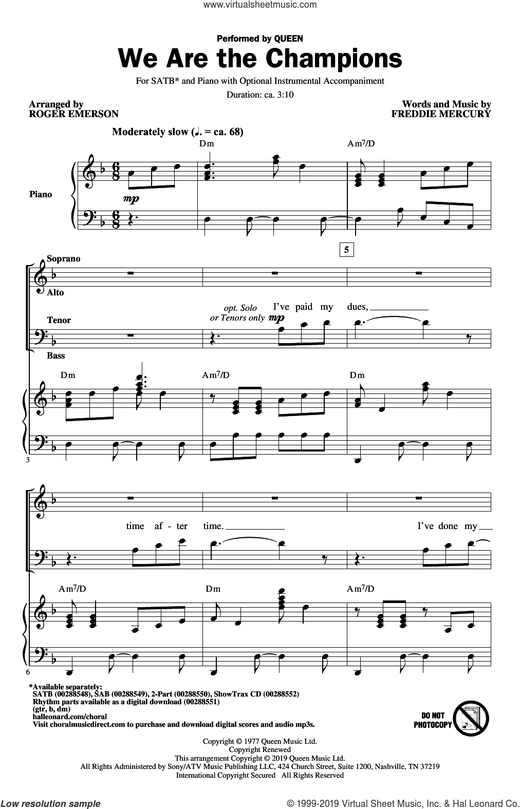 We Are The Champions (arr. Roger Emerson) sheet music for choir (SATB: soprano, alto, tenor, bass) by Queen, Roger Emerson and Freddie Mercury, intermediate skill level