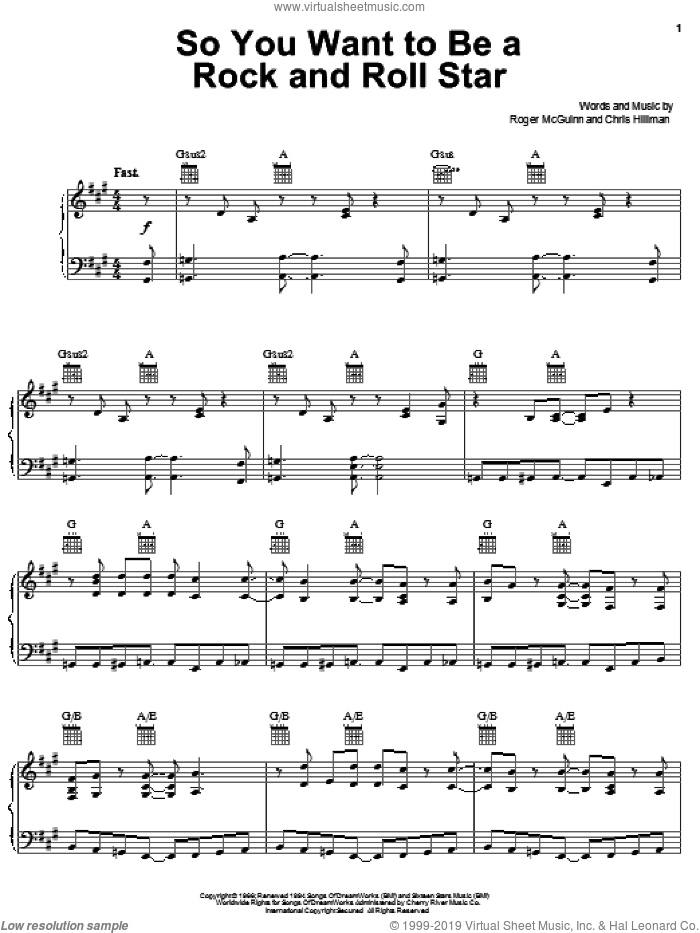 So You Want To Be A Rock And Roll Star sheet music for voice, piano or guitar by Roger McGuinn, The Byrds and Chris Hillman. Score Image Preview.