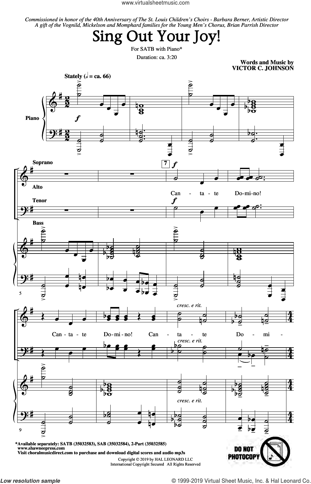 Sing Out Your Joy! sheet music for choir (SATB: soprano, alto, tenor, bass) by Victor Johnson, intermediate skill level