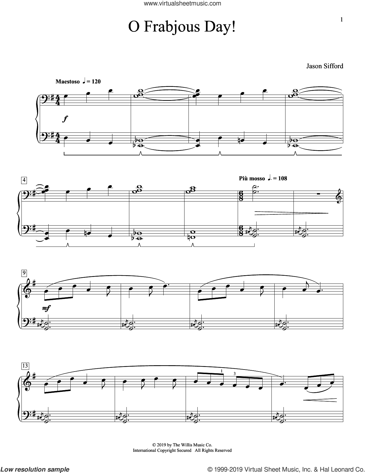 O Frabjous Day! sheet music for piano solo (elementary) by Jason Sifford, beginner piano (elementary)