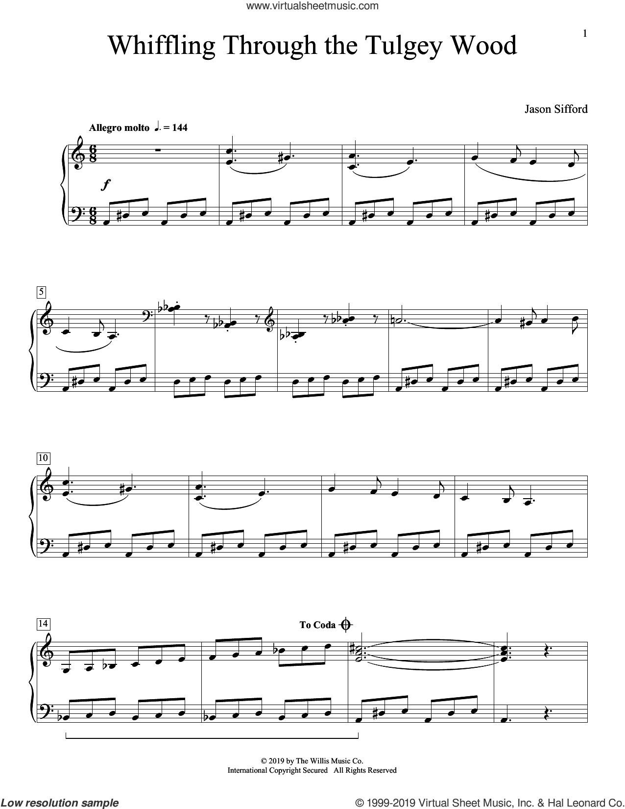 Whiffling Through The Tulgey Wood sheet music for piano solo (elementary) by Jason Sifford, beginner piano (elementary)