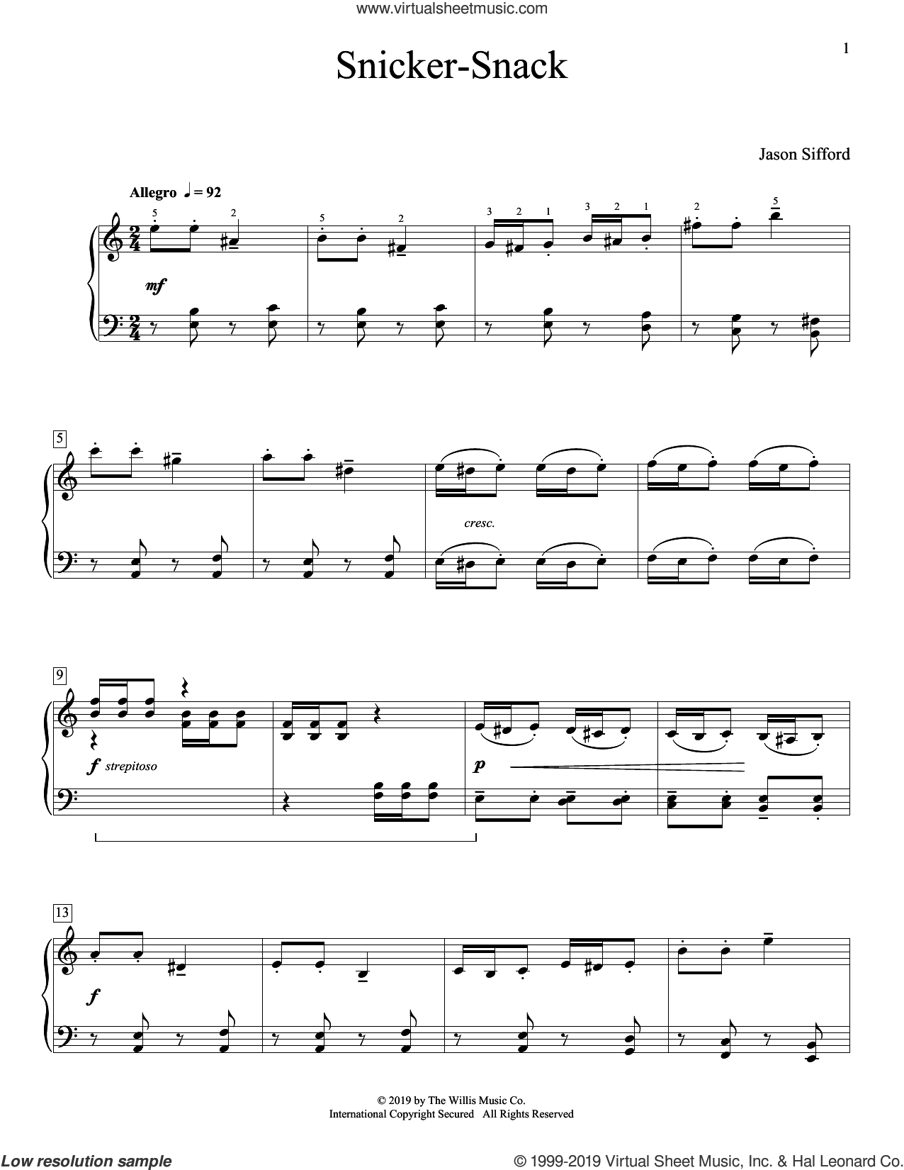 Snicker-Snack sheet music for piano solo (elementary) by Jason Sifford, beginner piano (elementary)