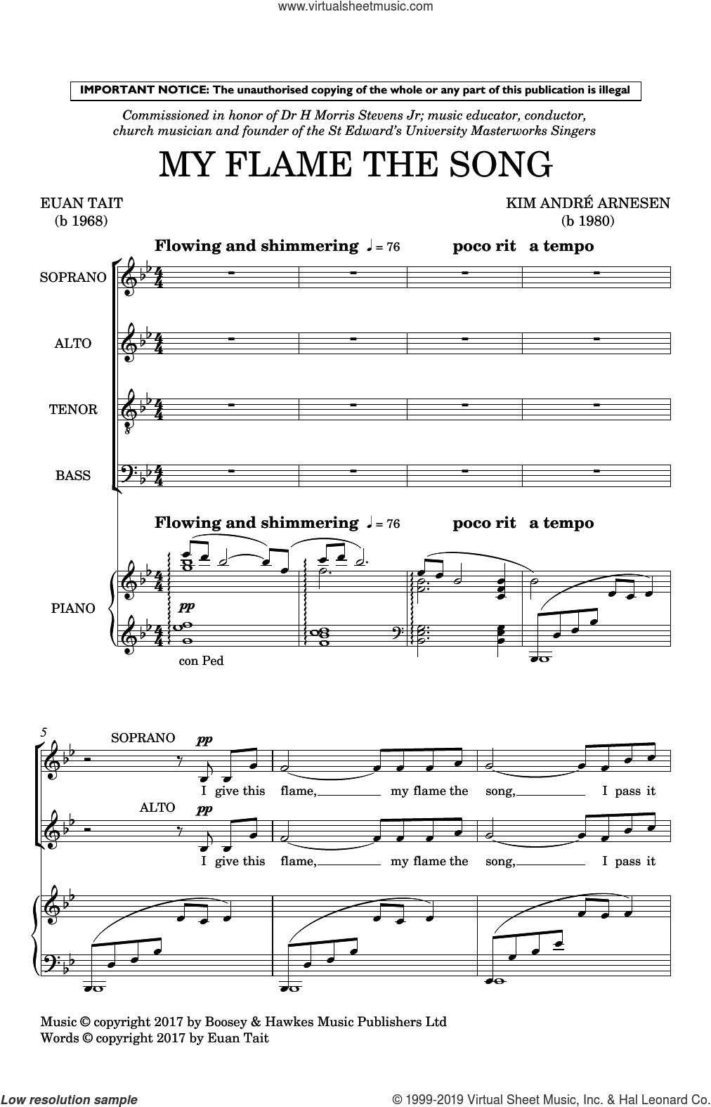 My Flame The Song sheet music for choir (SATB: soprano, alto, tenor, bass) by Kim Andre Arnesen and Euan Tait, intermediate skill level