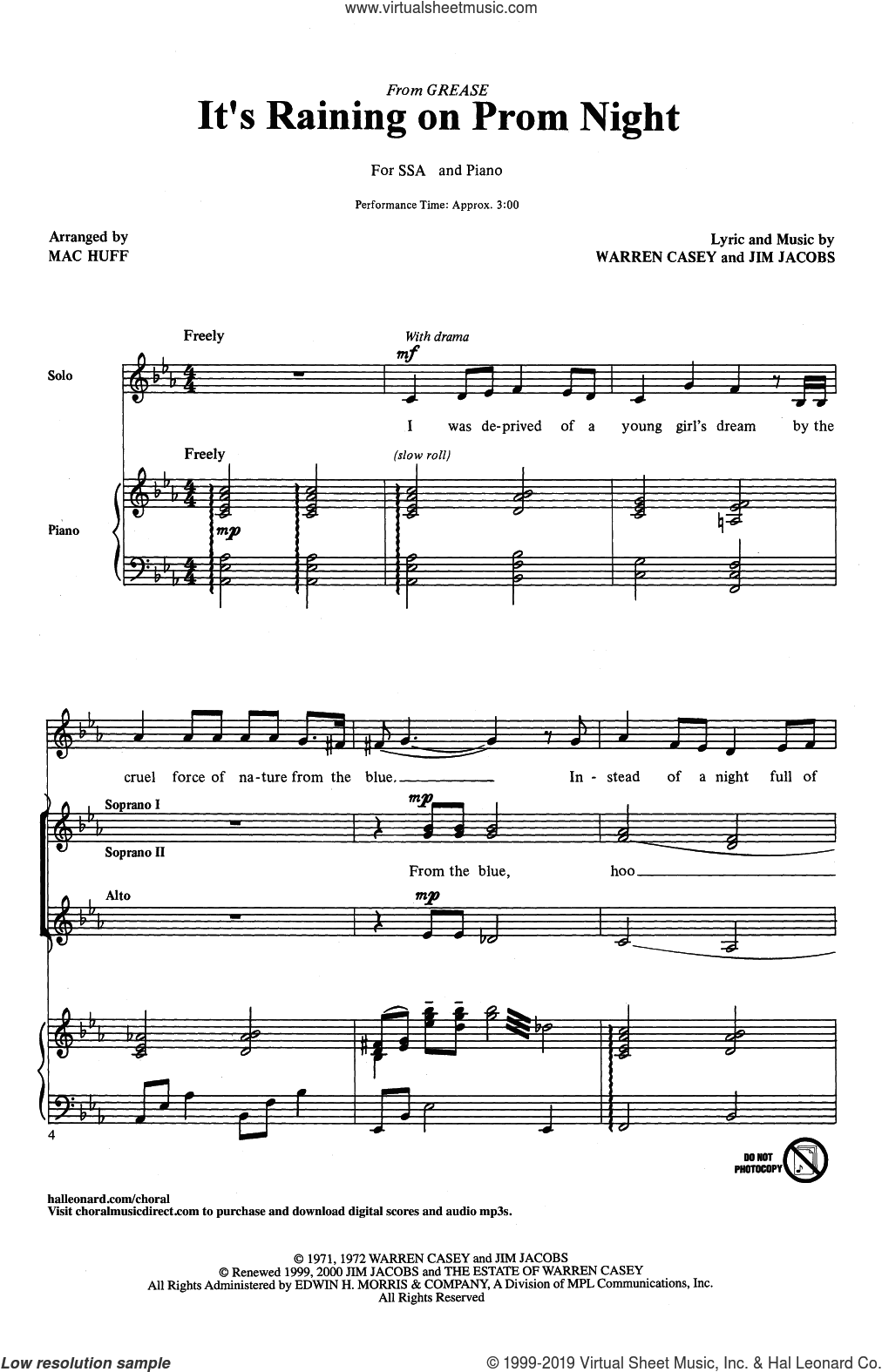 It's Raining On Prom Night (arr. Mac Huff) sheet music for choir (SSA: soprano, alto) by Jim Jacobs, Mac Huff, Jim Jacobs & Warren Casey and Warren Casey, intermediate skill level