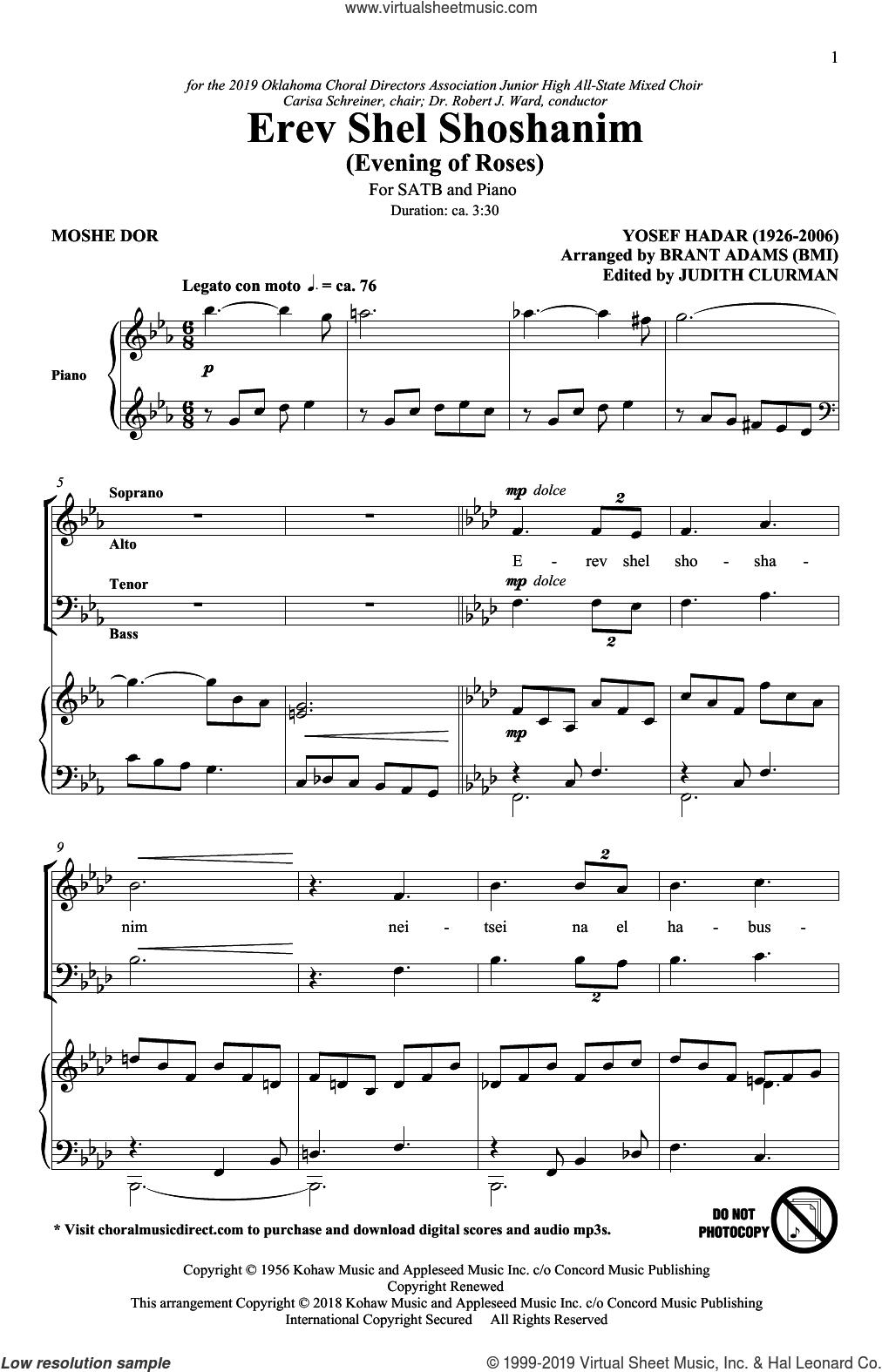 Erev Shel Shoshanim (arr. Brant Adams) sheet music for choir (SATB: soprano, alto, tenor, bass) by Yosef Hadar, Brant Adams, Moshe Dor and Moshe Dor & Yosef Hadar, intermediate skill level