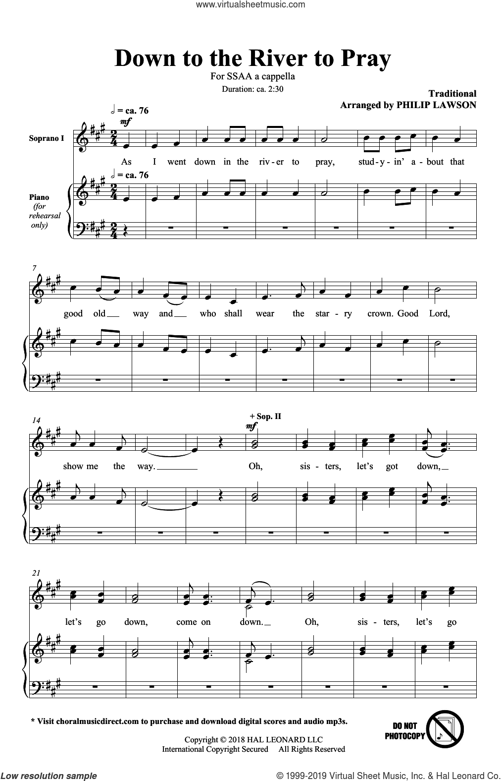 Down To The River To Pray sheet music for choir (SSAA: soprano, alto) by Philip Lawson and Miscellaneous, intermediate skill level