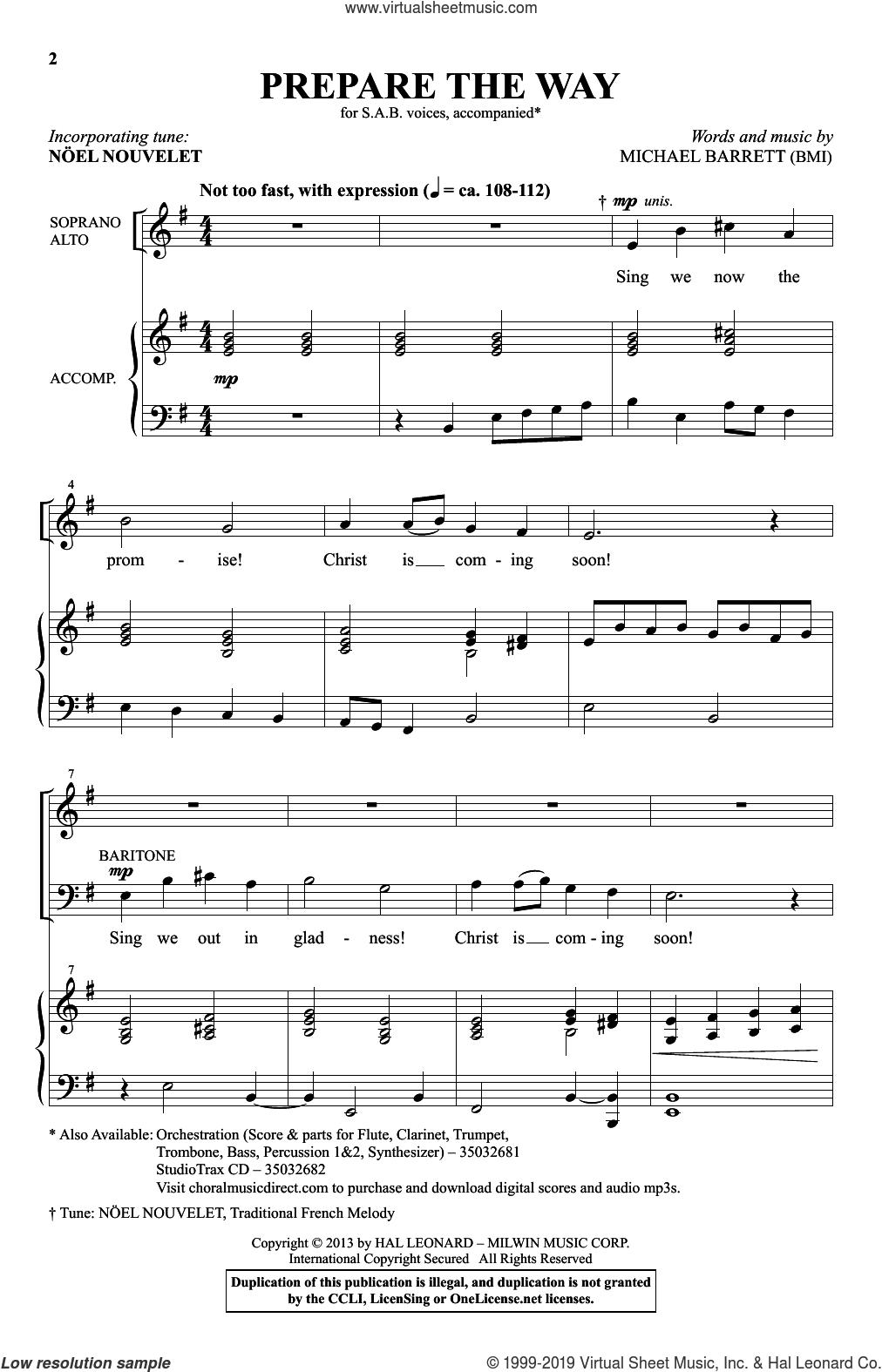 Prepare The Way sheet music for choir (SAB: soprano, alto, bass) by Michael Barrett, intermediate skill level