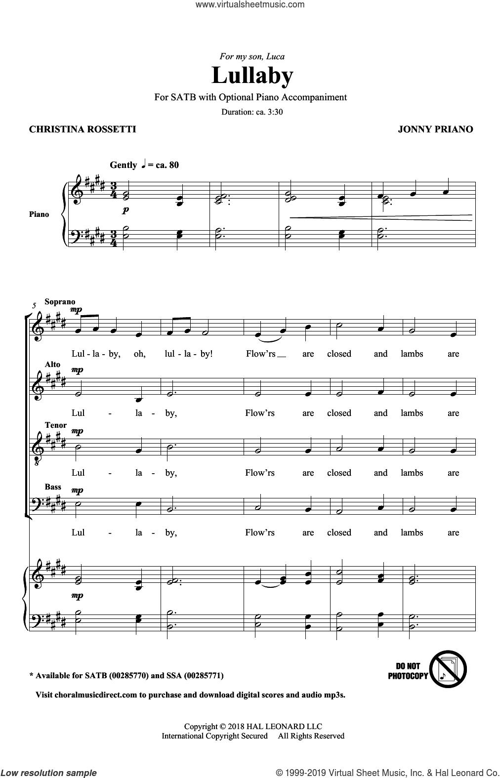 Lullaby sheet music for choir (SATB: soprano, alto, tenor, bass) by Jonny Priano, Christine Rossetti and Christine Rossetti & Jonny Priano, intermediate skill level