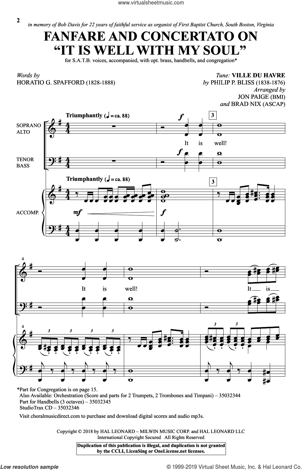 Fanfare And Concertato On 'It Is Well With My Soul' (arr. Jon Paige and Brad Nix) sheet music for choir (SATB: soprano, alto, tenor, bass) by Philip P. Bliss, Brad Nix, Jon Paige and Horatio Spafford, intermediate skill level