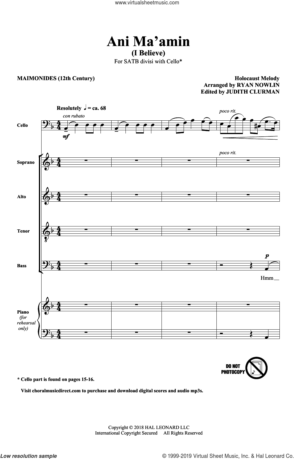Ani Ma'Amin sheet music for choir (SATB: soprano, alto, tenor, bass) by Ryan Nowlin and 13th Century Text, intermediate skill level