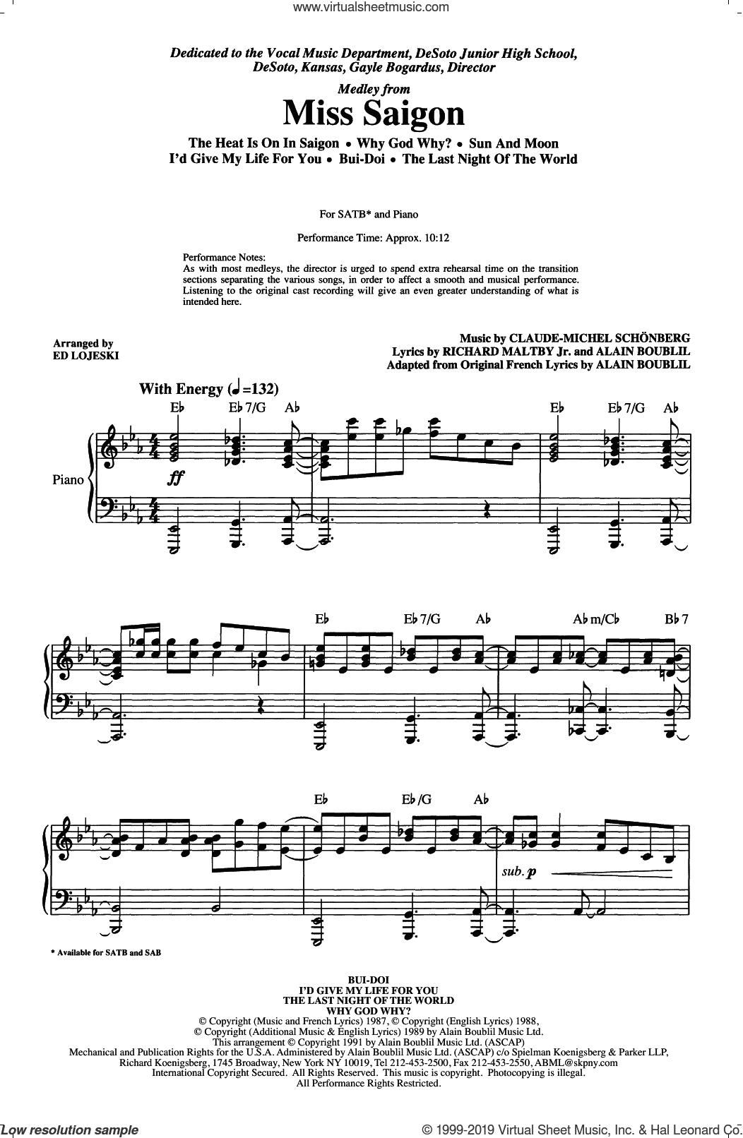 Miss Saigon (Medley) (arr. Ed Lojeski) sheet music for choir (SATB: soprano, alto, tenor, bass) by Alain Boublil, Ed Lojeski, Claude-Michel Schonberg and Richard Maltby, Jr., intermediate skill level