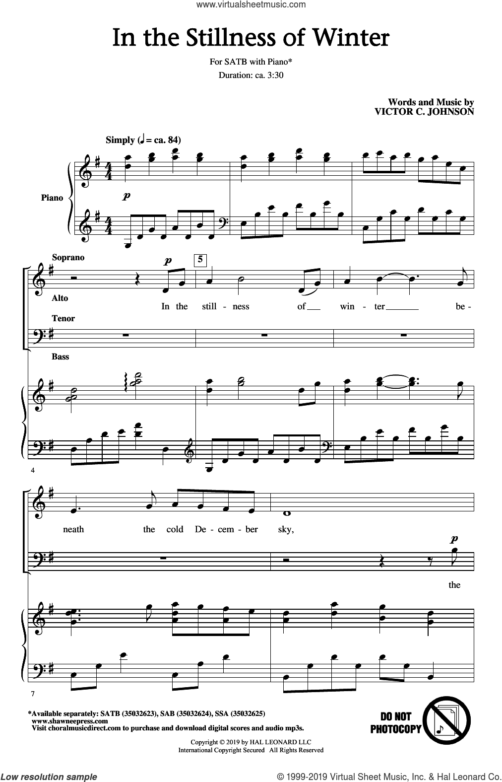 In The Stillness Of Winter sheet music for choir (SATB: soprano, alto, tenor, bass) by Victor Johnson, intermediate skill level