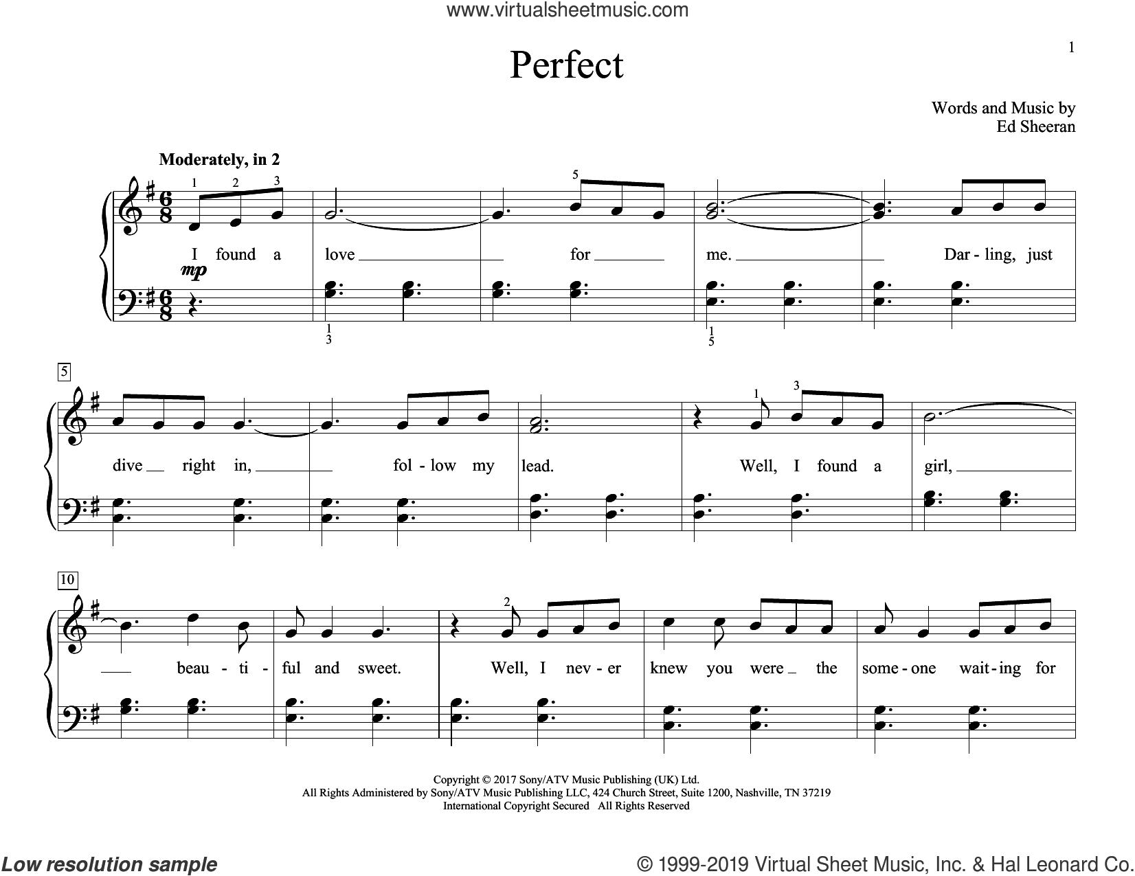 Perfect sheet music for piano solo (elementary) by Ed Sheeran, wedding score, beginner piano (elementary)