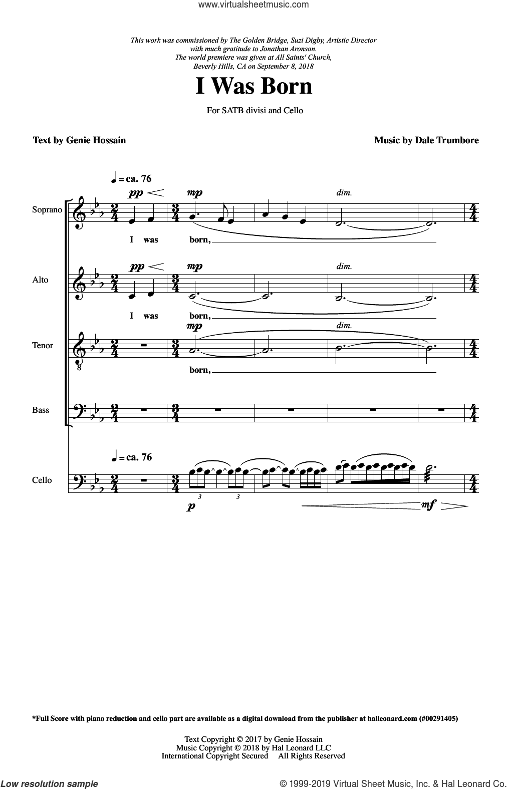 I Was Born sheet music for choir (SATB: soprano, alto, tenor, bass) by Dale Trumbore, Genie Hossain and Genie Hossain & Dale Trumbore, intermediate skill level