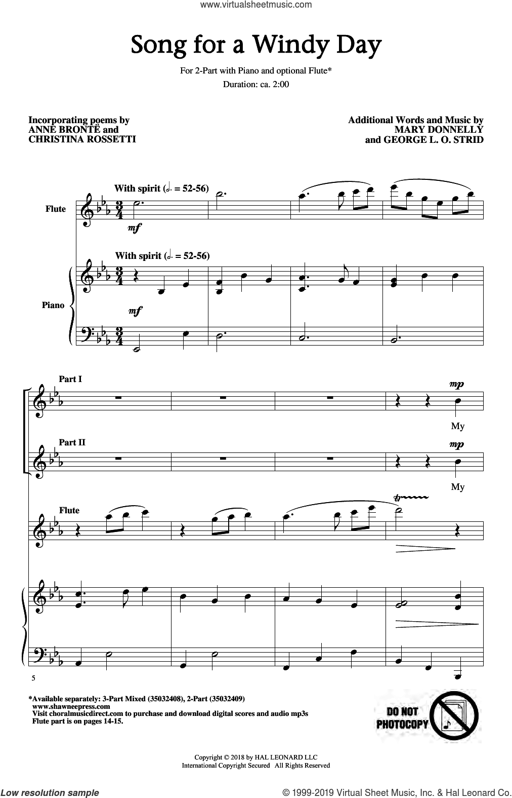 Song For A Windy Day sheet music for choir (2-Part) by Mary Donnelly, Anne Bronte, Christina Rossetti, George L.O. Strid and Mary Donnelly & George L.O. Strid, intermediate duet