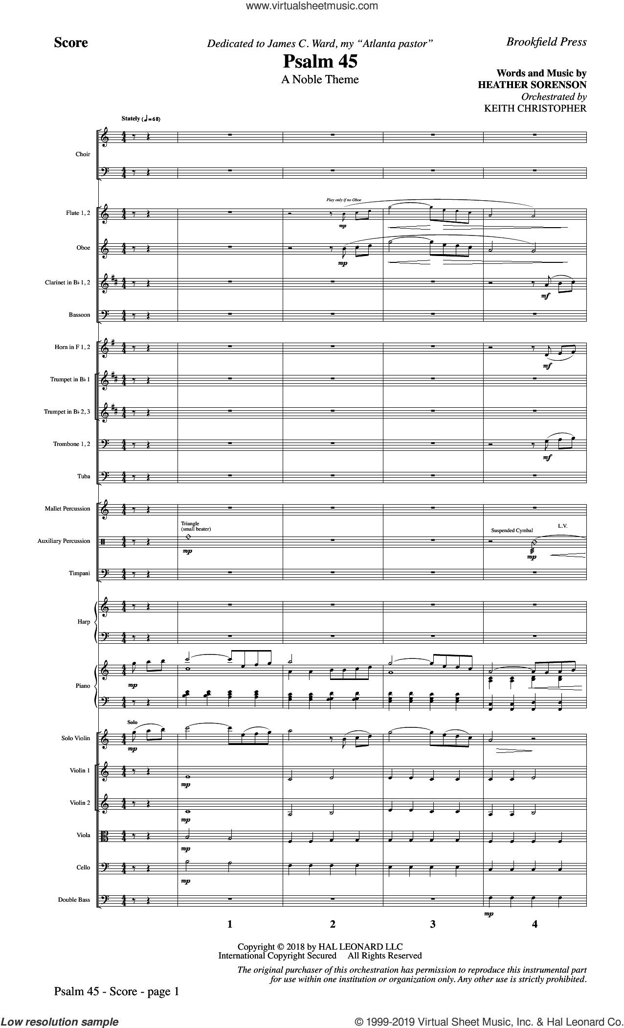 Psalm 45 (COMPLETE) sheet music for orchestra/band by Heather Sorenson and Miscellaneous, intermediate skill level