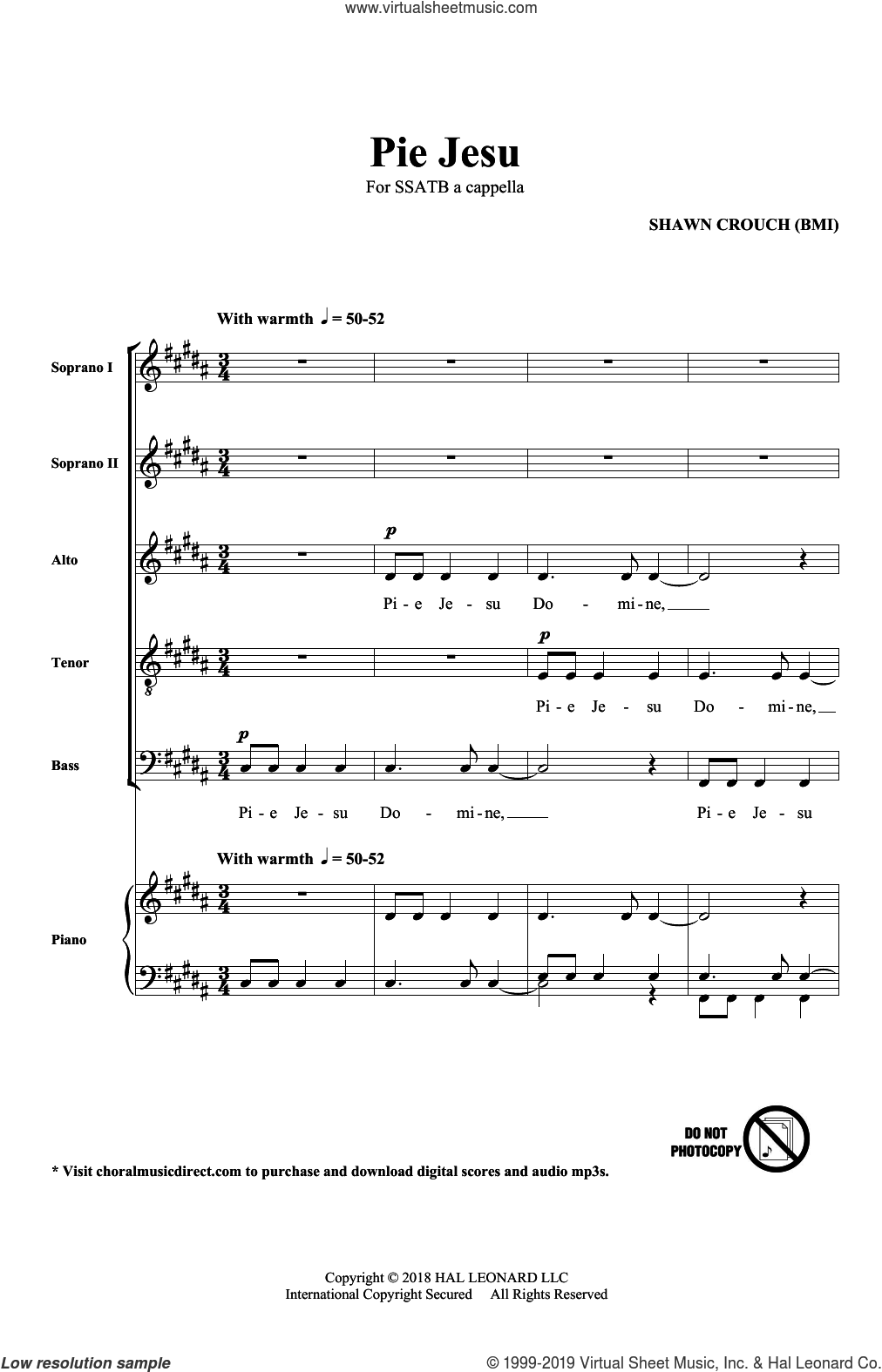 Pie Jesu sheet music for choir (SATB: soprano, alto, tenor, bass) by Shawn Crouch, intermediate skill level